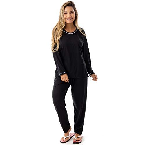 Pijama Confort Longo em Malha Suave Lisa   177 Cor:Preto;Tamanho:G