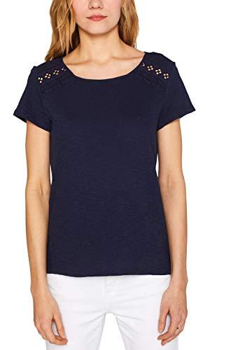 edc by ESPRIT Damen 049CC1K024 T-Shirt, Blau (Navy 400), Small (Herstellergröße: S)