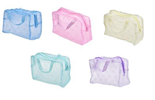 Bingpong 5pcs 5 Couleurs Portable Fermeture à glissière Transparente Fleurs imperméables Sac de cosmétique Femmes Voyage Stockage Bain Pochette de Toilette