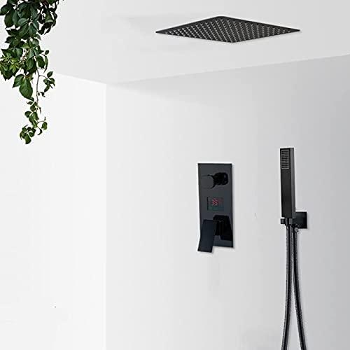 ZNMY Sistema de Ducha Juego de grifos de Ducha en Cascada de Lluvia en Negro Mate Pantalla Digital LCD Sistema de Ducha Juego de baño Grifos mezcladores de Ducha de 2/3 vías