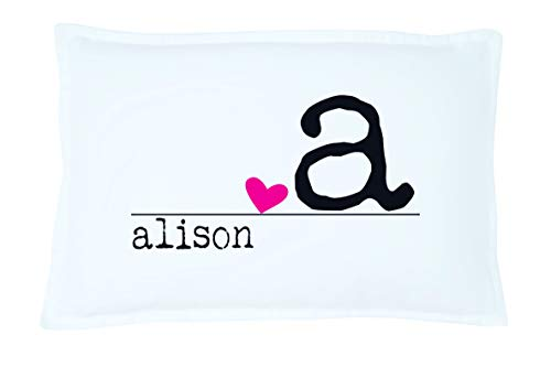 Image of the Personalized Heart Name Pillowcase Microfiber Polyester Standard 20 by 30 Inches, Personalized Gift for Women, Love Pillowcase, Pink Heart Pillow, Heart Pillowcase, Personalized Gifts for Couples