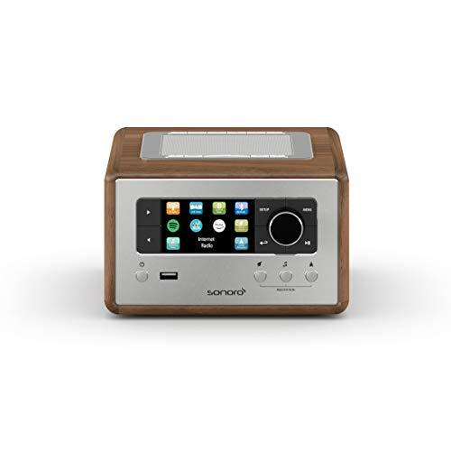 sonoro Relax Internetradio mit Bluetooth und USB (Wecker, UKW, DAB Plus, WLAN, MP3, Spotify, Amazon, Deezer, Meditation) Design Radiowecker in Walnuss