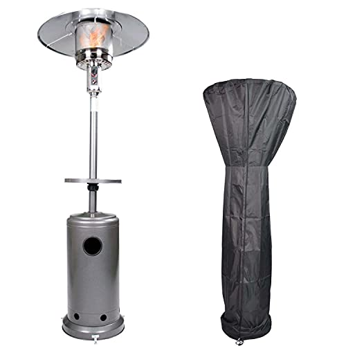 GardenCo Outdoor Gas Patio Heater - Freestanding Outdoor Garden Heater with Drinks Table and Premium Weatherproof Cover - Portable Wheels - 13.5KW (Silver)