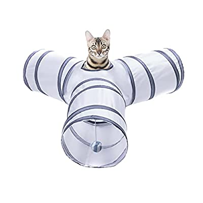 Alicedreamsky Cat Tunnel, Collapsible Tube with 1 Play Ball Kitty Toys, 3 Ways Cat Tunnels for Indoor Cats, Puppy, Kitty, Kitten, Rabbit (White and Gray) from Alicedreamsky