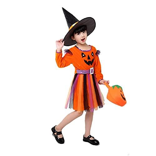 Traje De La Bruja Niñas Clásico hasta Traje con Sombrero Bolso De Disfraces De Halloween para Los Trajes De Halloween del Cuento del Corsé del Vestido De Partido 150cm Naranja 1ponga