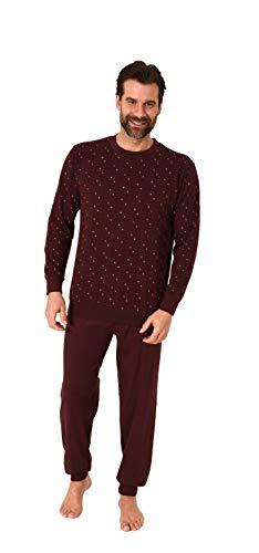 Edler Herren Schlafanzug Langarm Pyjama mit Bündchen im eleganten Minimal Look - 66534, Farbe:rot, Größe:54