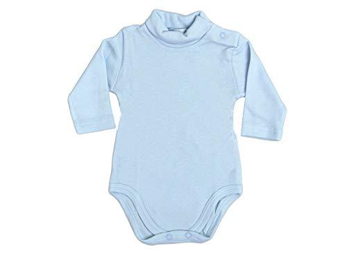 Body de bebé con cuello alto y manga larga, 2 unidades, AF2800, algodón interlock cuello alto (celeste, 18 meses)