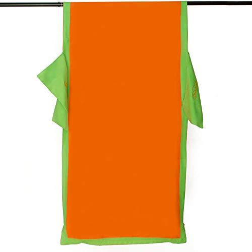 Telo Mare coprilettino in Morbida Microfibra con Tasche Colori Vari L387 Arancione