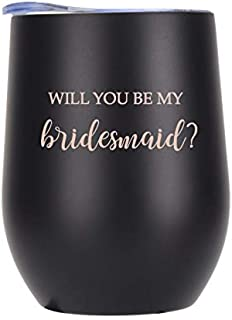 Wine Tumbler – 12 oz | Black | Rose Gold | Stemless Double Wall Vacuum Insulated Travel Cup with Lid for Coffee, Wine, Cocktails, Champagne | Bridesmaid Proposal Gift | Will You Be My Bridesmaid