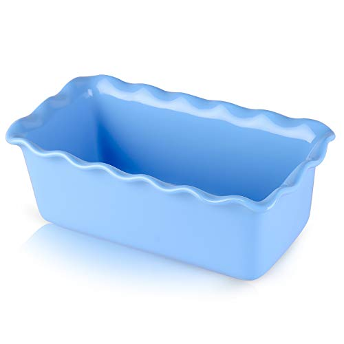 DUS 9.5 inch Porcelain Loaf Pan Ceramic Bread Baking Pan Cake Pan Baking Dish, Perfect for Bread and Meat - Blue