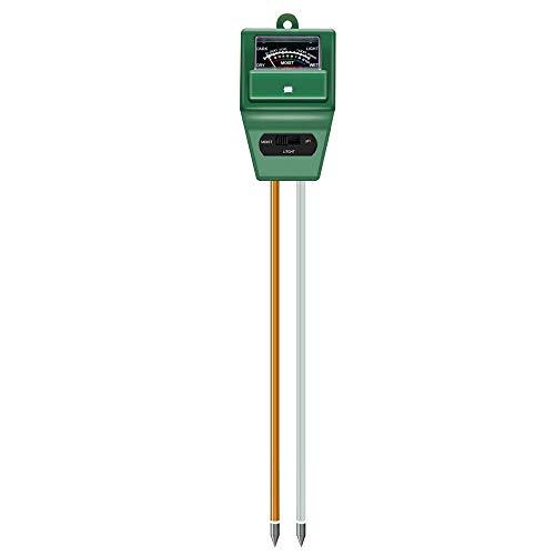 U Yoo - Comprobador de suelo 3 en 1 PH sólido, luz y medidor de pH ácido, higrómetro de sensor de agua para flores, hierba, planta, jardín, granja, césped (no necesita batería)