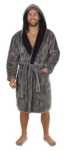 CityComfort Dressing Gown Mens - Super Soft Men's Fleece Dressing Gown in Black or Grey with Hood and Pockets - Great Gifts or Stocking Fillers for Men (Grey, M)