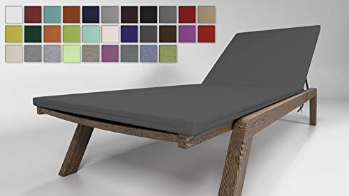 Rollmayer Sitzkissen für Sonnenliege Auflage Polster für Gartenliege Liegestuhl Strandliege Kollektion Vivid (Grafit 33, 190x54x4cm - 1 Stück)