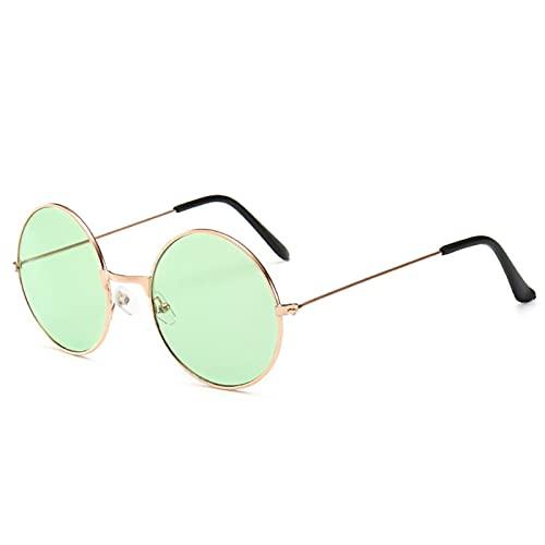 Gafas de Sol Retro Vintage Redondo Metal Gafas de Sol Hombres Mujeres Moda Gafas Gafas de Conductor (Color : 9, Size : H)
