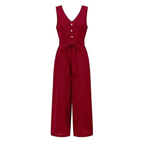Jumpsuits for Women 2020 zomer rompertjes V-hals Button Bandage Pocket wijde pijpen broek trainingspak vrouwelijke overalls Playsuit tuinbroek (Color : Red, Size : M)