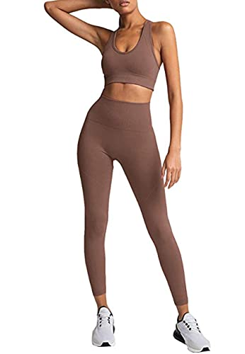 HAODIAN Women's Yoga Outfits 2 Piece High Waisted Leggings with Sports Bra Gym Clothes Sets(Brick Red,M)