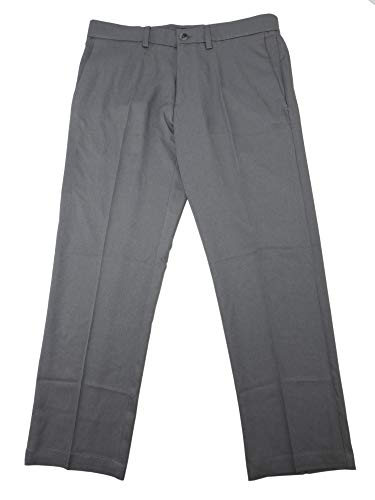 Haggar Mens Performance Comfort Casual Pants - Straight Fit (34 x 32, Heather Grey)