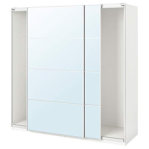 Armario PAX con puertas correderas 200x66x200 cm blanco/Auli espejo vidrio