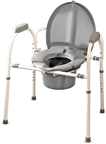 MedPro Comfort Plus Commode Chair with Adjustable Height and Extra Wide Ergonomic Seat, Convenient and Safer Toilet Alternative, Flexible Frame Design, Gray