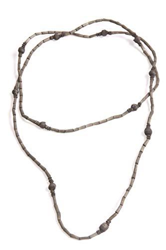 FreshFunkyFashion Collar largo con cuentas de madera caqui, estilo bohemio (S563)