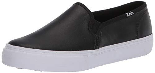 Keds Women's Double Decker Slip on Sneaker, Black Leather, 8.5