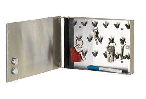 WENKO Schlüsselkasten Spiegel - Schlüsselschrank, Spiegel-Magnettafel mit 17 Haken, Gehärtetes Glas, 30 x 20 x 5 cm