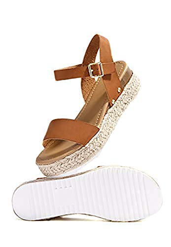 Soda Topic Casual Espadrilles Buckle Ankle Strap Open Toe Sandal (8.5 M US, Tan)