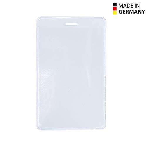 50 Stück transparente Kunststoff-Ausweishüllen Made in Germany, im Format 60x90 mm (Hochformat) als Schutzhülle für Karten - Kartenhalter - Scheckkartenformat aus Soft PVC für Schlüsselbänder/Lanyards