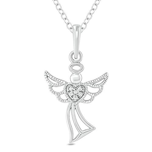 1/4CT Round D/VVS1 Diamond Accent Angel Heart Vintage-Style Pendant With 18' Chain In 925 Sterling Silver