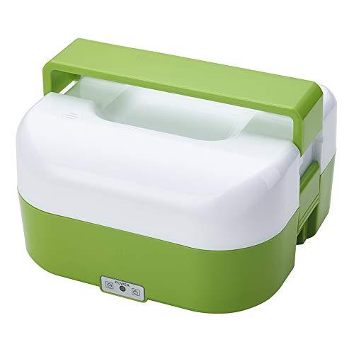 NATURAL LOGISTICS Fiambrera eléctrica Termo de Comida portátil para Oficina. Recipiente con Cable para Calentar la Comida. Incluye Tenedor y Cuchillo. Kottao (Verde)
