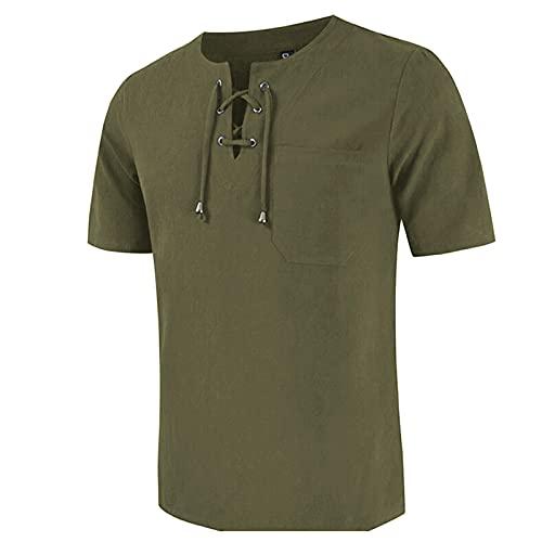 Camiseta de verano para hombre, manga corta, algodón y lino, corbata, blusa de manga corta Verde militar. XL