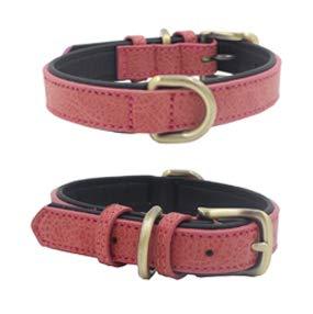 Mcdobexy Collares clásicos de cuero acolchado para perros en colores de contraste (XS, rojo)