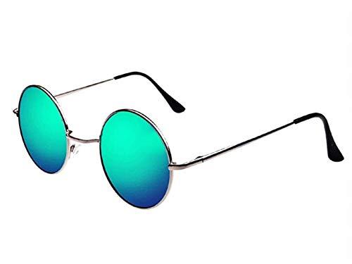 Gafas de sol John lennon - hippie - redondo - hombre - mujer - unisex - polarizado uv400 - montura plateada - lentes verdes - primavera - otoño - invierno - verano