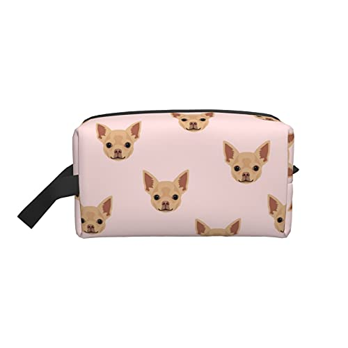 Chihuahua - Estuche para cosméticos, color rosa con organizador de brochas y brochas para maquillaje, neceser, para pinceles, estuche para lápices, accesorios