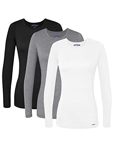 SIVVAN Scrubs for Women - Long Sleeve Comfort Underscrub Tee 3-Pack - S85003 - Black/Dark Marl Grey/White - 2X