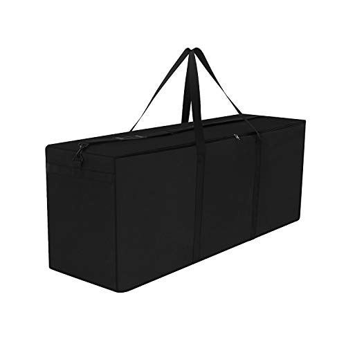 Dokon Garden Furniture Cushion Storage Bag, Waterproof, Anti-UV, Heavy Duty Rip Proof 600D Oxford Fabric Christmas Tree Storage Bag with Handle (125x40x55cm) - Black