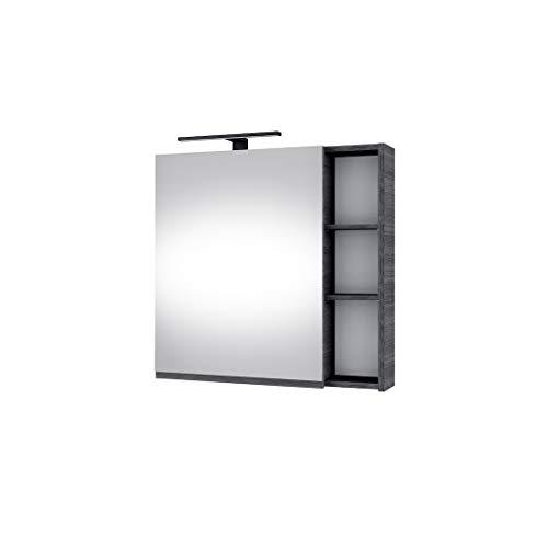 Planetmöbel moderner Badezimmer Spiegelschrank mit integriertem Licht, Spiegeltüren, Stauraum und Steckdose in Anthrazit