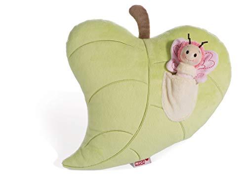 NICI Schmetterling im figürlichen Blatt, Kuschelkissen für Jungen, Mädchen, Babys, Flauschiges Stofftier, Plüschtier Kissen ab 0 Monaten I 44939, grün, 30 x 32 cm