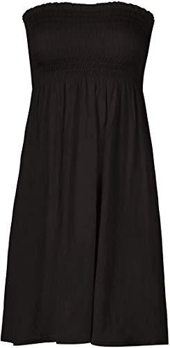 Loxdonz Women's Sun Strapless Tube Short Dress Summer Dresses Casual Mini Beach Cover Up (Large, Black)