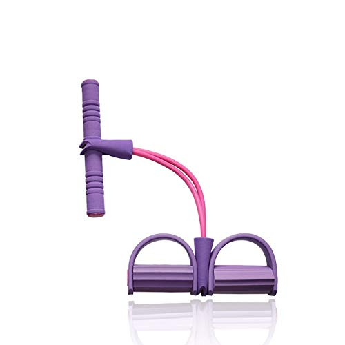 2Resistance Elastic Pull Ropes Exerciser Rudergerät Belly Resistance Band Home Gym Sporttraining Elastic Bands für Fitnessgeräte - Lila