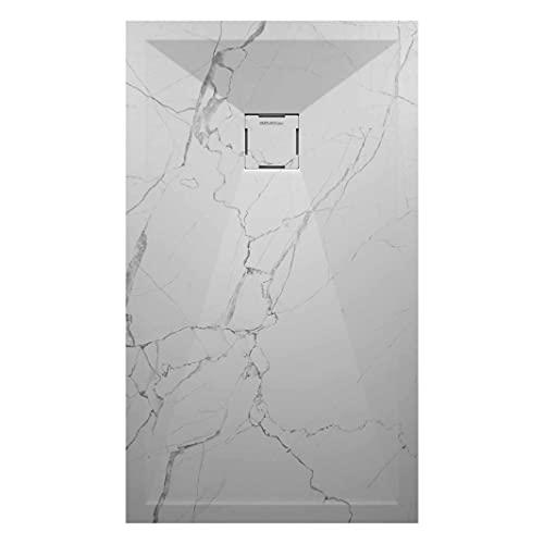 Plato de ducha de mineral fundido macizo piedra en 3D efecto mármol blanco con superficie gelcoat, tamaño 70 x 100 cm