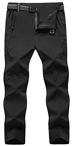 TBMPOY Men's Quick Dry Ripstop Belted Mountain Fishing Cargo Pants(003 Thin Dark Black,us L)