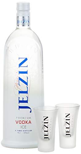 Jelzin Vodka Ice Set mit 2 Gläsern (1 x 0.7 l)