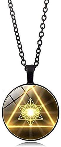 NC188 Collar Moda Iridiscente Oro Geometría Sagrada Cabujón Cristal Tíbet Cadena de Plata Colgante Collar Misterioso Estilo Bohemio Joyería Regalo