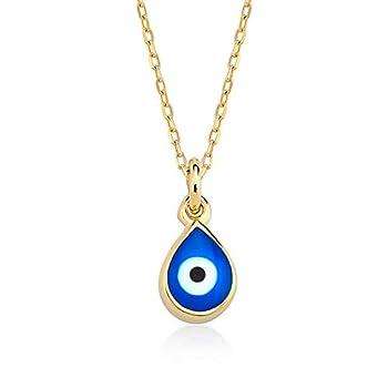 GELIN 14k Solid Gold Evil Eye Charm Pendant Necklace | Evil Eye Jewelry for Women