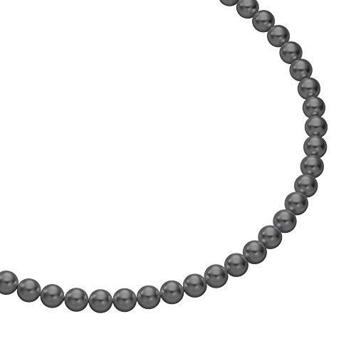 Heideman Halskette Damen Perlenkette aus Edelstahl silber farbend matt Kette für Frauen mit Swarovski Perle dunkel grau rund Perlenschmuck Brautschmuck