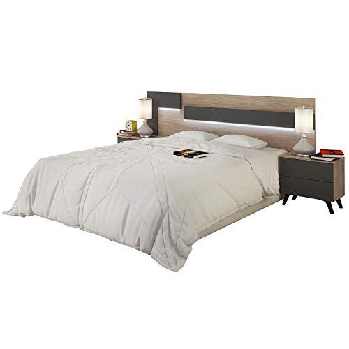 duehome HomeSouth - Cabezal con Led para Cama de Matrimonio, cabecero Modelo Lica Led, Color Roble y Grafito, Medidas: 200 cm (Ancho) x 55 cm (Alto) x 3 cm (Fondo)
