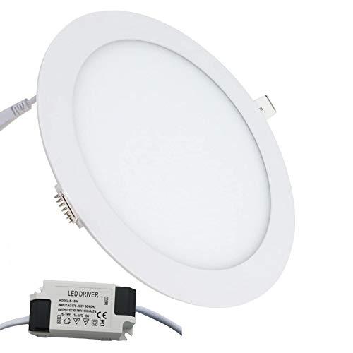 LONJY - Lámpara LED de superficie redonda ultrafina, 18 W, 8 pulgadas, para techo, con controlador, 6500 K blanco frío, bombilla de 140 W, instalación sencilla