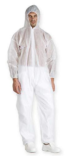 Tuta da lavoro bianca con cappuccio e zip, in TNT/PLP 40 grammi taglia XXL - SET DA 10 PEZZI
