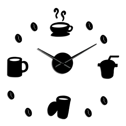 xinxin Reloj de Pared Signos de café sin Marco 3D DIY Reloj de Arte de Pared Clásico Grano de café Mute Acrílico Espejo Adhesivo Negro 37 Pulgadas